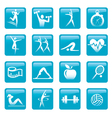 Blue Fitness icons buttons vector image