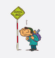 boy waiting for the school bus vector image