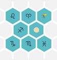 Flat icons optics comet fishes and other vector image