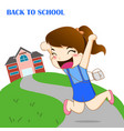 girl feeling happy to going back to school vector image