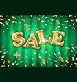 gold sale balloons background on green curtain vector image