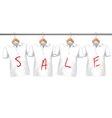 Shirts on sale hanging on hangers Concept of vector image