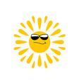 Sun logo with black glasses vector image