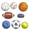 Sport balls set Hand drawn color pencil sketch vector image vector image
