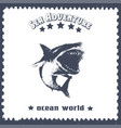 hand drawn vintage card with a shark and lettering vector image