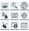 Set of 9 seo icons includes loading speed ppc vector image