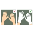 Two images with hands with and without gloves vector image vector image