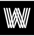 Capital letter W Made of three white stripes vector image