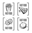 fast food menu design element set vector image