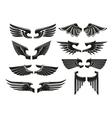 Spread heraldic wings black icons vector image