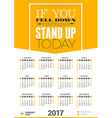 Wall Calendar Motivational Poster for 2017 Year vector image