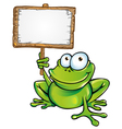frog prince with signboard vector image vector image