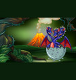 three headed dragon hatching egg in forest vector image vector image