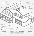 thin line icon isometric suburban american house vector image