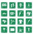 brazil travel symbols icons set grunge vector image