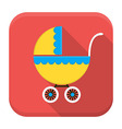 Children buggy app icon with long shadow vector image