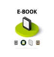 E-Book icon in different style vector image