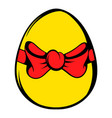 Easter egg with a red bow icon icon cartoon vector image