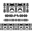 scandinavian folk art pattern - black long stripe vector image