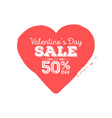 valentines day sale grungy heart with season vector image