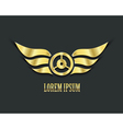 Wings with wheel for your design Golden symbol vector image