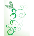 green butterfly and flourishes abstract vector vector image