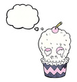 spooky skull cupcake cartoon with thought bubble vector image