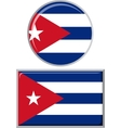 Cuban round and square icon flag vector image vector image