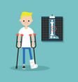 disabled blond boy on crutches with broken leg vector image