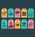 fast food tags burgers hot dogs sandwich vector image
