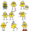 Funny chickens individually grouped vector image