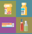 pharmacy icons set pills and capsules healthcare vector image