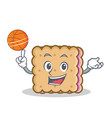 playing basketball biscuit cartoon character style vector image