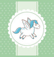 sweet unicorn flying polka dot green background vector image