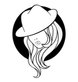 Young girl in a vintage gangster hat vector image