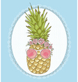 Cute hipster pineapple with sunglasses and flower vector image