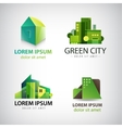 set of green building icons logos Eco vector image