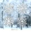 Ink hand drawn snowflakes set vector image