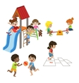 Kids Playing Outdoors Set vector image