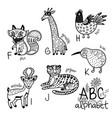animals alphabet f - k for children vector image