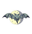 bat in full moon background vector image