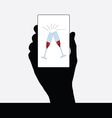champagne glass in hand vector image