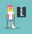 disabled blond girl on crutches with broken leg vector image