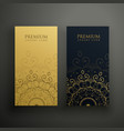 premium mandala cards in gold and black colors vector image