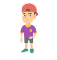 smiling little caucasian kid boy in a ball cap vector image