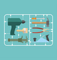 tools set plastic model kit drill and hammer vector image