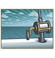 Vintage deep sea fishing background vector image