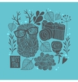 Owl in eyeglasses with horns winter background vector image