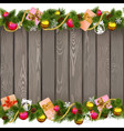 Seamless Christmas Border with Gifts on Old Board vector image