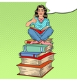 Pop Art Woman Sitting on Books and Reading Book vector image